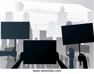 people hands protesting lifting banners silhouettes on the city