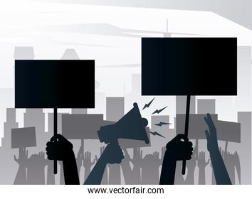 people protesting lifting banners and megaphone silhouettes on the city