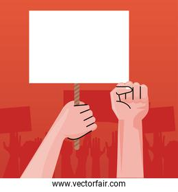 hands human protesting lifting banner empty in red background