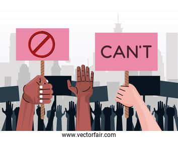 interracial people hands protesting lifting banners with cant word and stop symbol on the city
