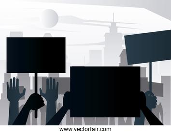 people protesting lifting banners silhouettes on the city