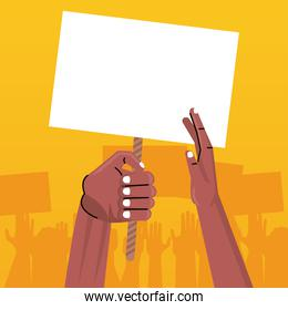 afro hands human protesting lifting banner empty in yellow background