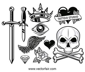 set of monochrome tattoos studio graphics