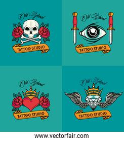 set of colorfull tattoos studio styles