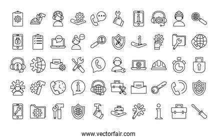 bundle of fiften technical service set icons