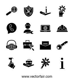 bundle of sixteen technical service set icons