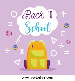 back to school, backpack arithmetic math shapes and signs elementary education cartoon