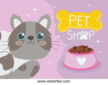 pet shop, spotted gray cat and bowl food cartoon domestic animal