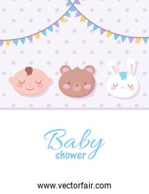 baby shower, spotted background with faces bear boy and rabbit, welcome newborn celebration card