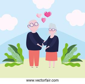 cute grandparents couple with heart and ribbon love romantic cartoon design