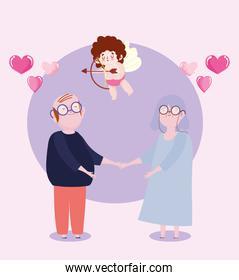 old couple and cupid with arrow and bow love romantic hearts cartoon