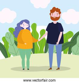 family mother and father holding hands together landscape cartoon