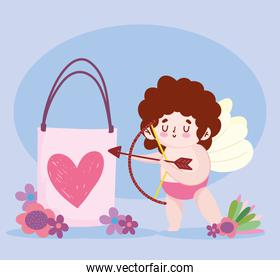 love cute cupid with gift arrow and bow romantic flowers cartoon