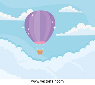 bright hot air balloon sky clouds blue background