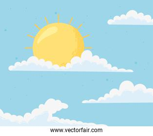 blue sky with clouds and sun cartoon background