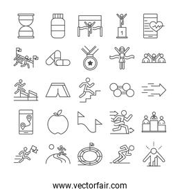 running sport race clock protein medal barbell apple stadium people line icons set design