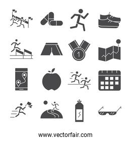 running sport race map flag mountains trophy apple barbell line icons set design