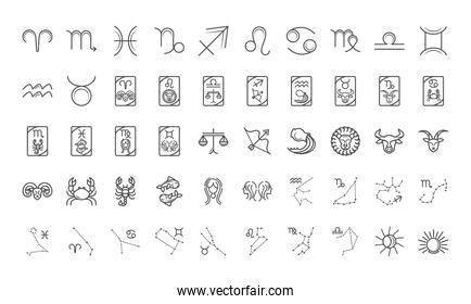 zodiac astrology horoscope calendar constellation icons collection line style