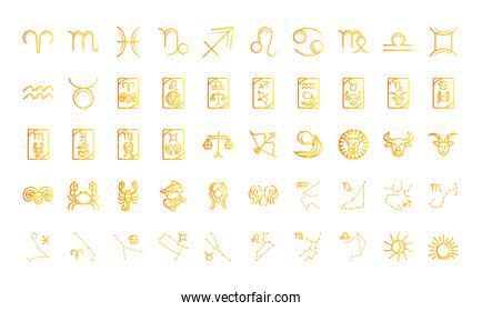 zodiac astrology horoscope calendar constellation icons collection gradient style
