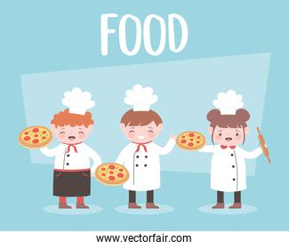 cartoon chefs cooking and holding pizza food