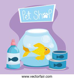 pet shop, fish in bowl medicine bottle and food animal domestic