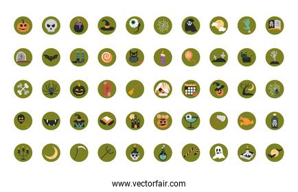 happy halloween, trick or treat party celebration flat and block icons set