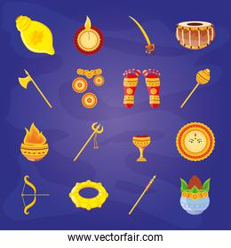 set of icons festival navratri on blue background