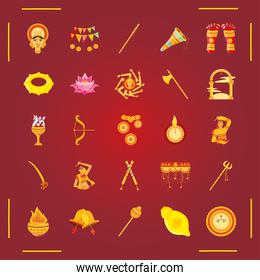 set of icons festival navratri on red background