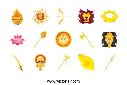 set of icons festival navratri over white background