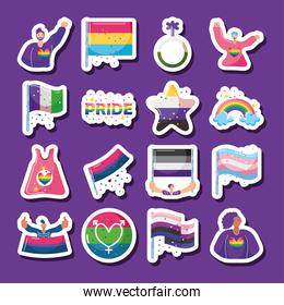 set of icons with LGBTQ community symbols in purple background
