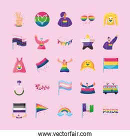 set of icons with LGBTQ community symbols on pink background
