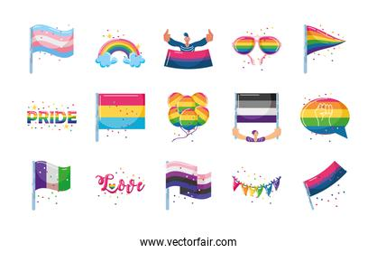 set of icons with LGBTQ community symbols in white background