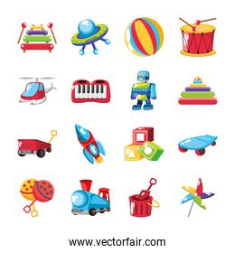 set of icons kids toy