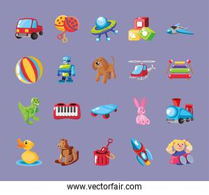 set of icons kids toy on purple background