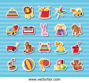 set of icons kids toy on blue background