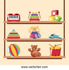 set of icons kids toy on wooden background