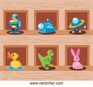 set of icons kids toy in wooden background
