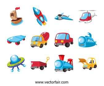 set of icons kids toy in white background