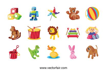 set of icons kids toy over white background