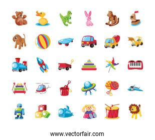 set of icons cute kids toys on white background