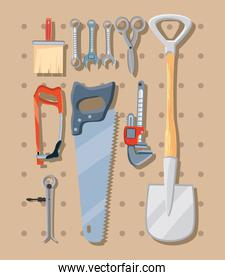 bundle of construction tools in white background
