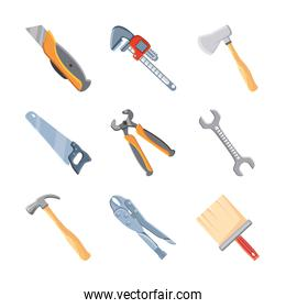 set of icons with construction tools on white background