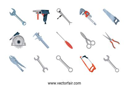 set of icons with construction tools over white background