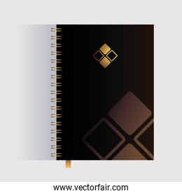 notebook, corporate identity template on white background