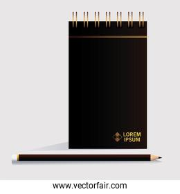 notebook, corporate identity template in white background