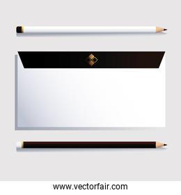 envelope and pencil, corporate identity template on white background