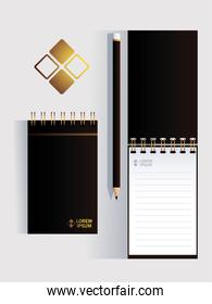 notebooks, corporate identity template on white background