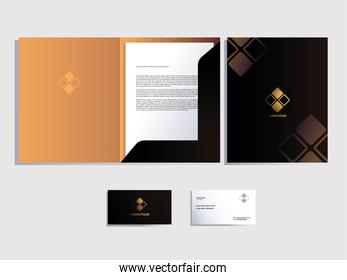 corporate identity for business over white background