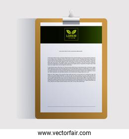 clipboard, corporate identity template on white background