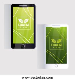 smartphone, corporate identity template on white background